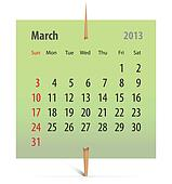 Calendar for March 2013