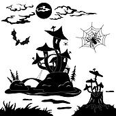 Halloween cartoon landscape