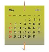 Calendar for May 2013