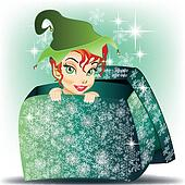Elf smiling girl coming out from gift wrap