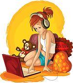 Girl listening music on laptop