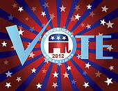 Vote Republican Red White and Blue Stars Sun Rays