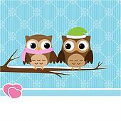 Winter owl couple
