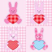 Pink rabbits cards