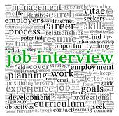 Job interview concept in word tag cloud