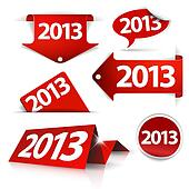 Red Vector 2013 Labels, stickers, pointers, tags