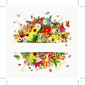 Gift card design with floral bouquet, four seasons
