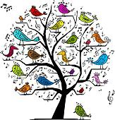 Funny tree with singing birds for your design