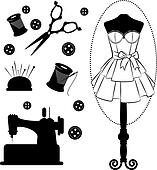 Vintage sewing related elements