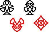 Poker card symbols in celtic style