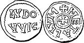 Coin Currency, Carolingian Dynasty, vintage engraving