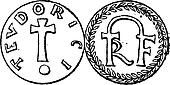 Coin Currency, Merovingian Dynasty, vintage engraving