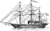 The Napoleon, French Ship, vintage engraving