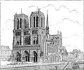 Notre Dame de Paris, in Paris, France, vintage engraving