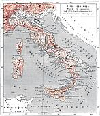 Topographical Map of Ancient Italy, vintage engraving