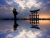 Geisha at sunset