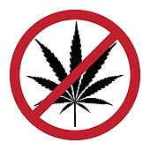 No cannabis, drugs free, symbolic illustration
