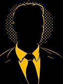 Retro Comic Business Man Silhouette
