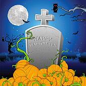 Pumpkin around Tomb Stone