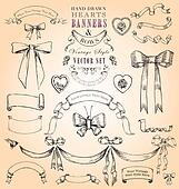 Vintage Hearts, Banners and Bows