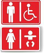 Restroom men women baby handicapped