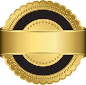Golden blank label with golden ribb