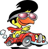 smart chicken driving a sports car