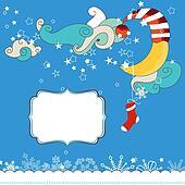 Christmas eve scene card for children