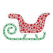 Christmas santa sleigh icon made of