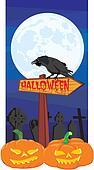 halloween - signpost and raven