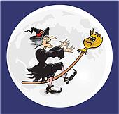 witch and her broomstick
