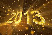 greetings new year 2013 yellow
