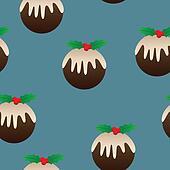 Christmas Plum Pudding Seamless Background