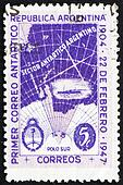 Postage stamp Argentina 1947 Map of Argentine Antarctic Claims