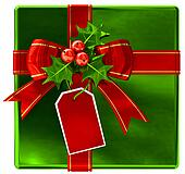 Christmas green gift with red ribbon and bow