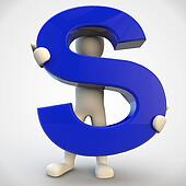 3D human character holding blue letter S