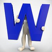 3D human character holding blue letter W