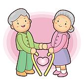 The elderly new love. an old person Character