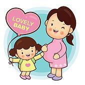 Joyful daughter and pregnant women.