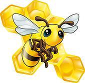 Cartoon bee with honeycomb