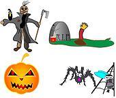 Halloween pumpkin scarecrow grave
