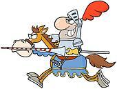 Happy  Knight Riding Horse