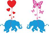 elephant with hearts and butterfly