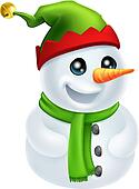 Christmas Snowman in Elf Hat