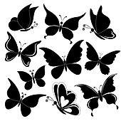 Butterflies, black silhouettes
