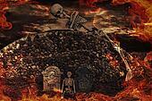 halloween skeletons in flames