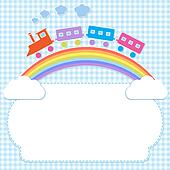 Frame with colorful train on rainbow