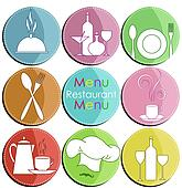 Nine icons with elements of kitchen