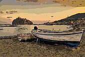 Aragonese castle (Ischia island Italy) view from beach old priso
