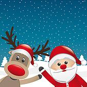reindeer and santa claus wave